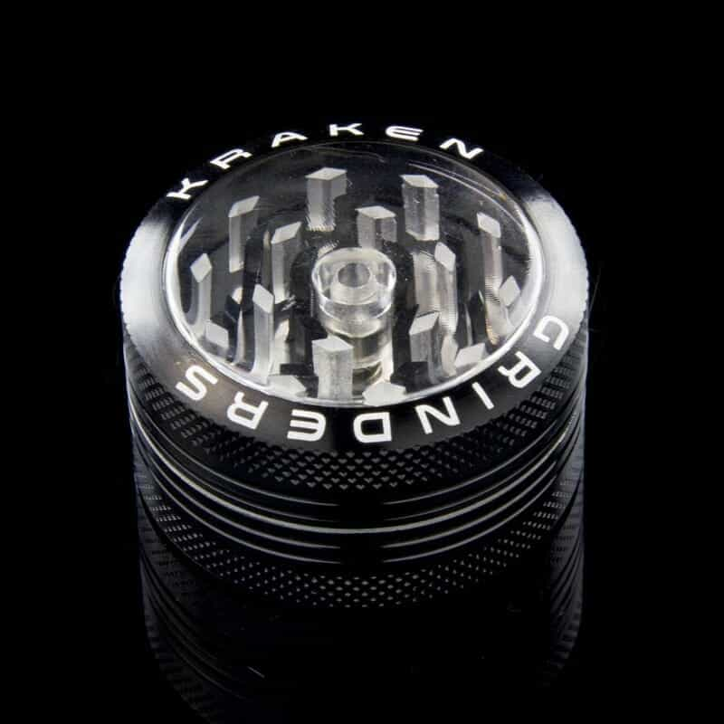 """Kraken 1.5"""" 2-part Grinder with Clear Top and Push-up Bottom - Black"""