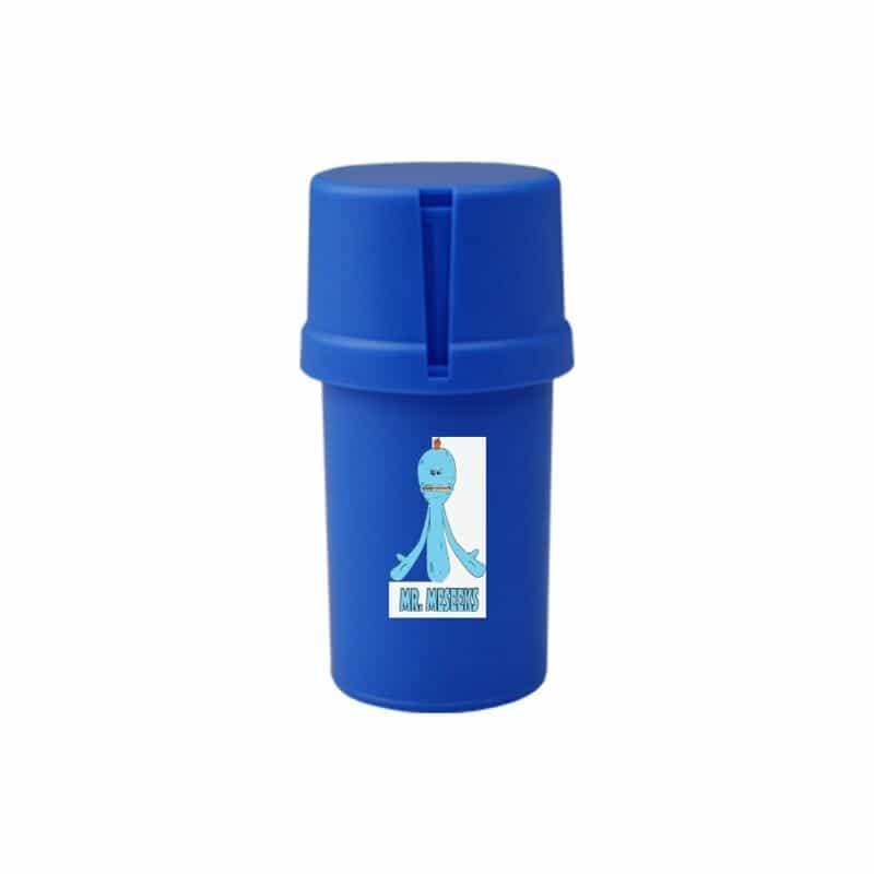 The Medtainer Storage w/ Grinder Meeseeks / Blue - 20 Dram / Expanded / Front