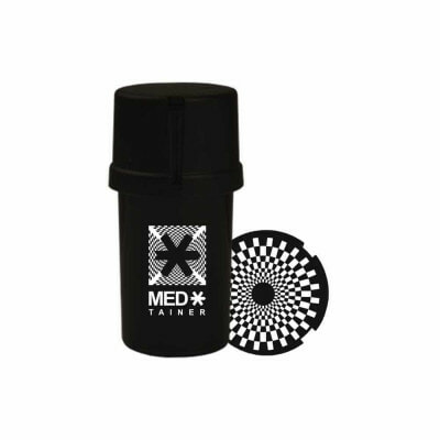 "The Medtainer Storage w/ Grinder ""Check Mate"" Black – 20 Dram"