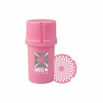 """The Medtainer Storage w/ Grinder """"Check Mate"""" Pink Marble – 20 Dram"""