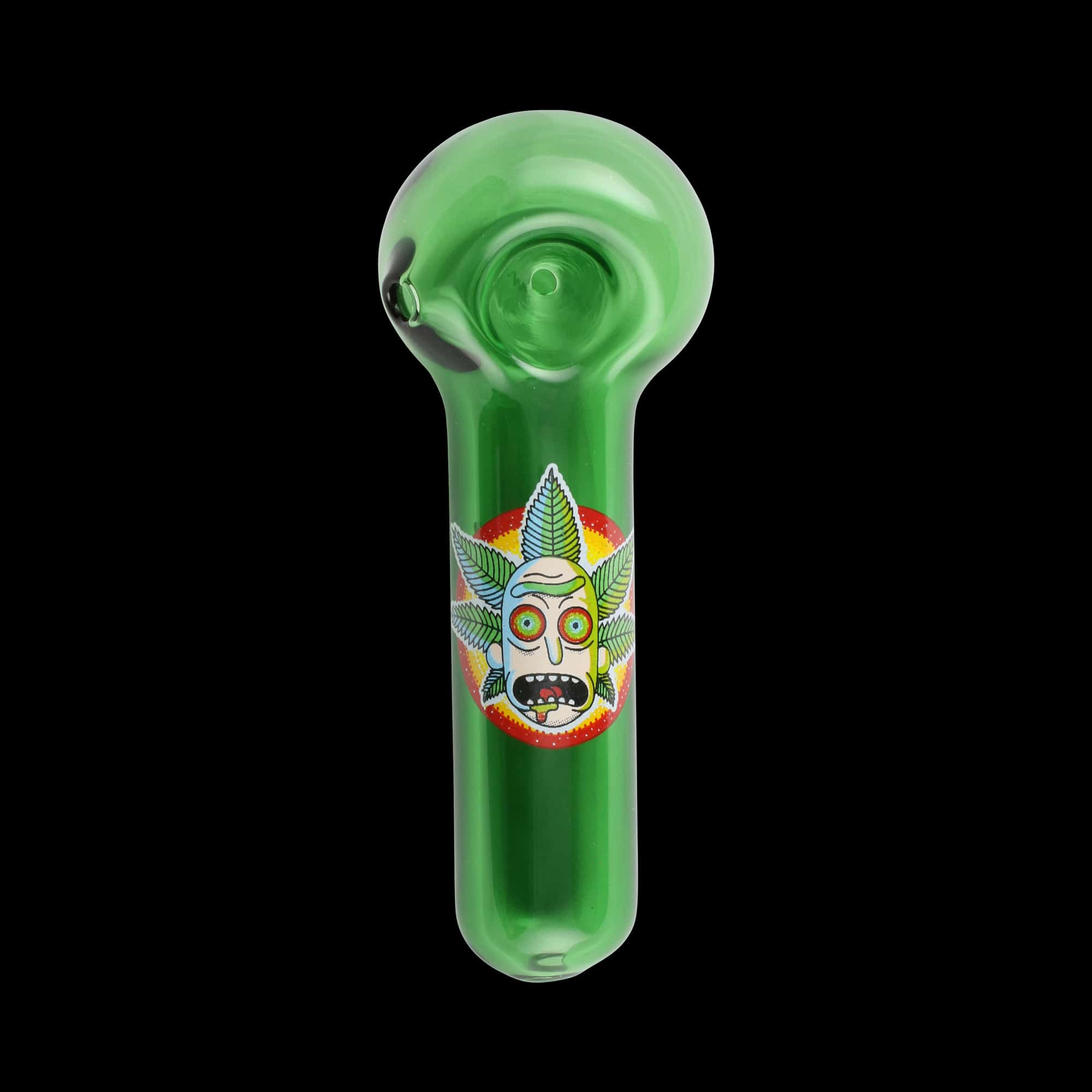 """Chameleon Glass Canna Crown Rick """"Rick and Morty"""" Glass Pipe - Green"""
